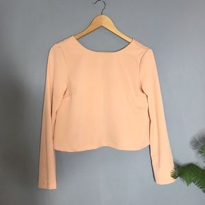 Topshop Peach Long Sleeve Crop Top 4 Small Blouse
